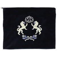 Tallit Bag Navy Velvet with Lions of Judah