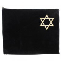 Tallit Bag Navy Velvet, Silver & Gold Star of David