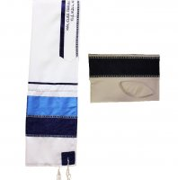 Navy Tallit Set with Royal Blue Silver and Ribbons