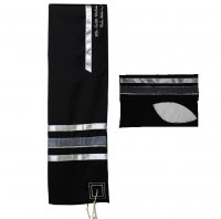 Black Tallit Set with Silver and Gray Ribbons
