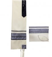 Slate Blue Tallit Set with Silver Ribbons
