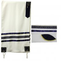 Navy Tallit Set with Diamond Design Gold Ribbons