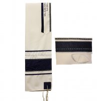 Navy Blue with Silver and Blue Ribbons Tallit Set
