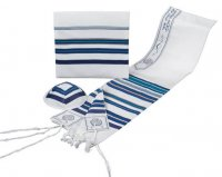 Wool Tallit Set, Multicolored Blue (see sizes & pricing)