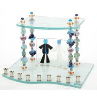 Beaded Wedding Hearts Menorah, by Tamara Baskin
