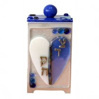 Blue and White Heart Tzedakah Box, by Tamara Baskin