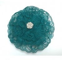 Ladies Teal Lace Kippah