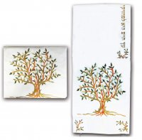Embroidered Tree of Life Tallit Set Green, by Yair Emanuel