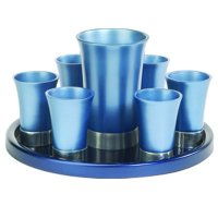 Anodize Aluminum Kiddush Blue Set