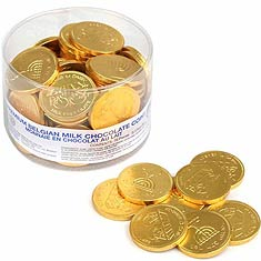 Large Belgian Chocolate Coins, Dairy - Nut Free - Tub of 70