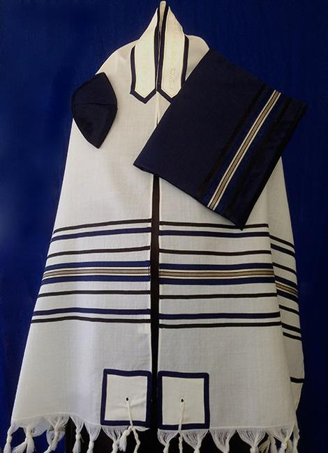 Multi Striped Navy and Gold Wool Tallit Set - Click Image to Close