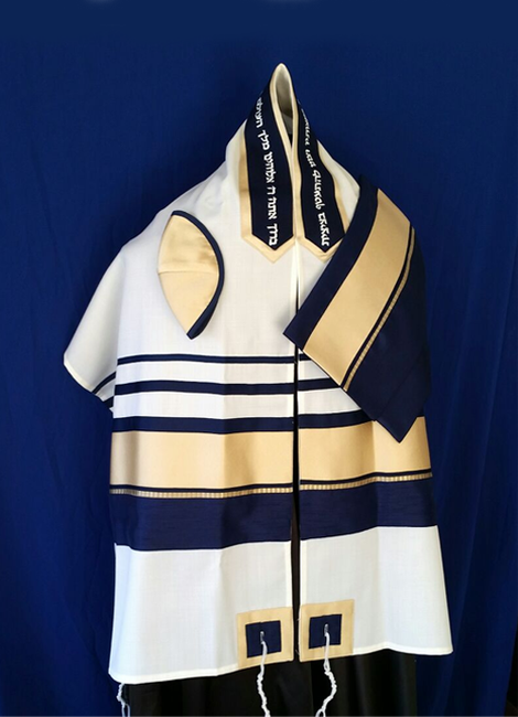 Navy and Gold Raw Silk on Wool Tallit Set