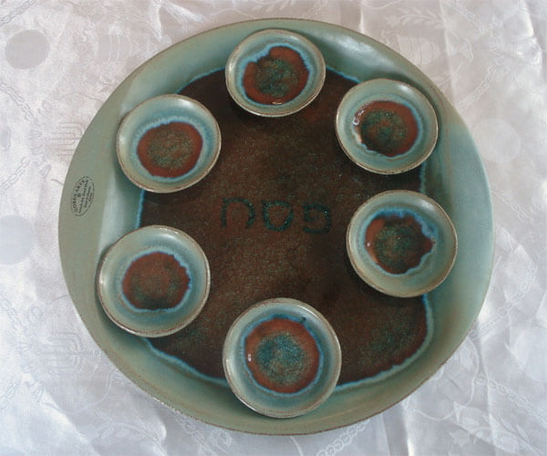 Ceramic Seder Plate Blue Crackle & Ceramic Seder Plate Blue Crackle | The Golden Dreidle | Online Store ...