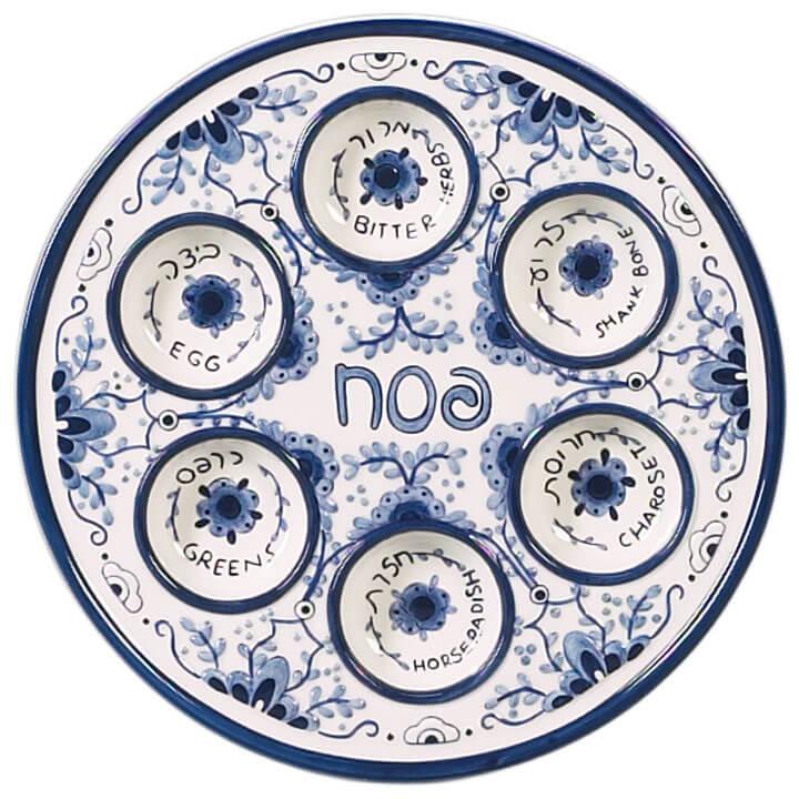 Delft Like Ceramic Seder Plate  sc 1 st  The Golden Dreidle & Delft Like Ceramic Seder Plate | The Golden Dreidle | Online Store ...