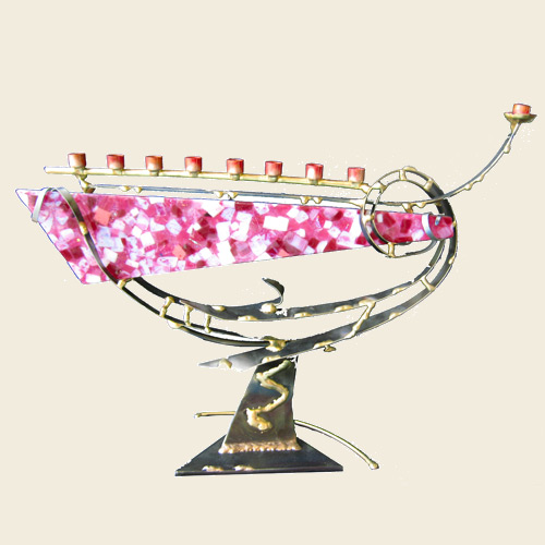 Breast Cancer Awareness Menorah-Large, by Gary Rosenthal - Click Image to Close