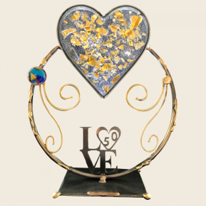 Crystal 50th Anniversary Gold Shardz Heart, by Gary Rosenthal