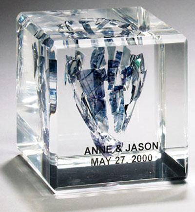 Broken Wedding Glass Lucite Cube Square