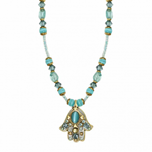 Aqua Cat's Eye with Gold Hearts Small Hamsa, by Michal Golan