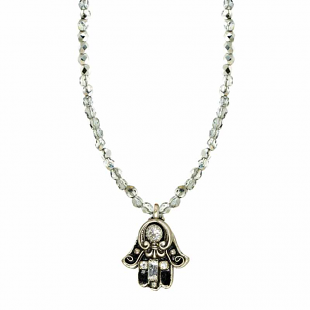 Black and Silver Large Hamsa w/ Beaded Chain by Michal Golan