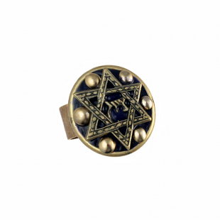 Black and Gold Star of David Ring, by Michal Golan