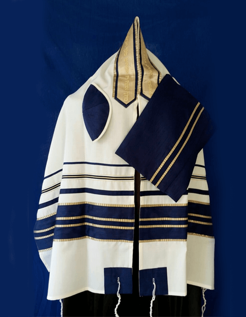 Navy and Gold Stripes Wool Tallit Set