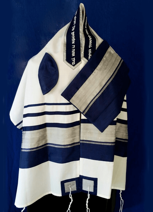 Navy and Silver Raw Silk on Wool Tallit Set
