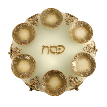 Gold Exodus Seder Plate, by Quest - Click Image to Close
