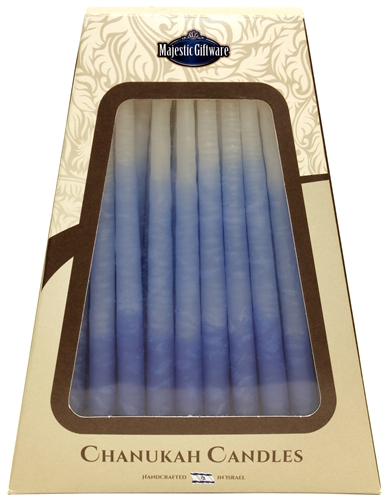 Safed Chanukah Candles Tri Colored Blue and White - Click Image to Close