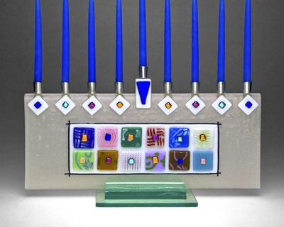 Twelve Tribes Menorah, by Sara Beames - Click Image to Close